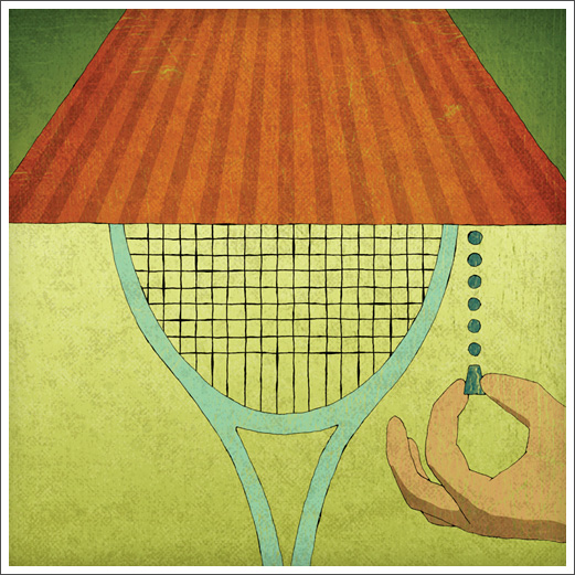 Editorial freelance Illustration - Tennis Magazine: Night Tennis detail © RAWTOASTDESIGN