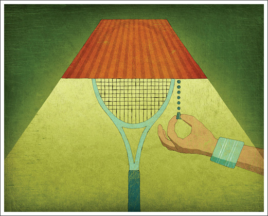 Editorial Illustration - Tennis Magazine: Night Tennis © RAWTOASTDESIGN
